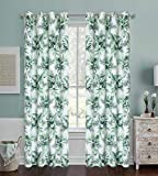 Green Leaves Pattern Digital Floral Print Blackout Curtains Tropical Coconut Palm Leaf home décor Set with Grommet Heavy and soft Energy Efficient Thermal Insulate Drapes for Living Room 63 inch long