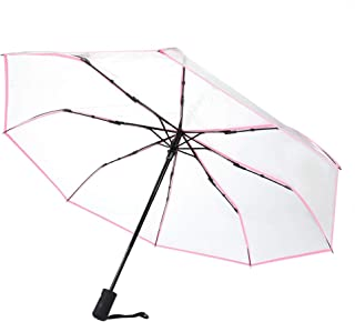 Transparent rain Umbrella, Foldable Three Times Travel Umbrella Sun Foldable rain rain Ladies Sun Protection Reliable Ladies Protection(Pink)