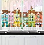 Cortinas de cocina vintage, casas retro con pequeñas empresas, panadería, pescadería, cafetera, cortinas de ventana, juego de 2 paneles para decoración de cocina, café, 132 x 183 cm, color rosa pálido