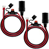 2Pack Female Cigarette Lighter 1.6FT Outlet Ring Terminal Plug Power Supply Cord 12V 16AWG Heavy Duty Cable Accessory 10A Fused DC Power 12 24 Volt Socket for Car Tire Inflator Air Pump By ZHSMS