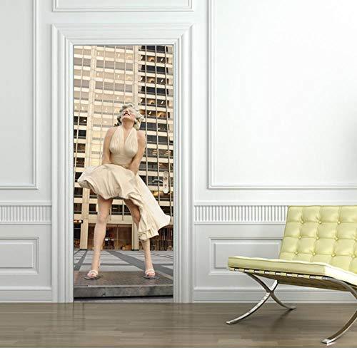 3D zelfklevende duurzame kunst nieuwe sticker DIY huisdeur decoratie decoratief behang druk figuur sculptuur vrouw hoog gebouw 77 * 200cm
