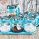 Condimento caja de cristal, el pote de aderezo del Hogar de cristal salsa de vinagre Botella Jar Jar Set latas de sal Salsa de soja pequeña prueba de polvo grueso Combinación zhihao
