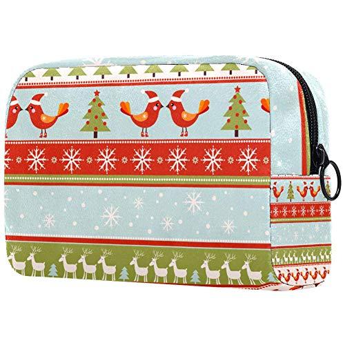 Trousse de toilette portable pour femme avec brosses de maquillage personnalisées - Sac à main - Organisateur de voyage - Pour Noël et cerfs - Rayures
