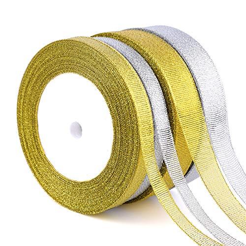 FEPITO 4 Pack 10 mm 20 mm de ancho Cinta de plata dorada Cinta de Navidad para envolver regalos Cinta de organza con brillo para árbol de Navidad Cintas de Navidad para manualidades