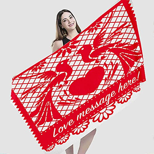 """Art Beach Towel,Cut Out Love Birds Mexican Papel Picado Wedding Mexico and Art Chain,Microfiber Super Absorbent Beach Blanket for Travel Beach Camping Swimming Outdoor Towel Mat,31""""x63"""""""