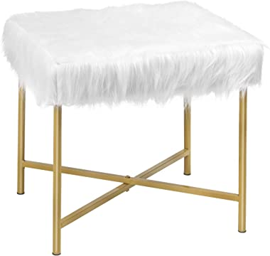 Giantex Ottoman Footrest W/Padded,Luxurious Faux Fur Covered Seat and Gold Metal Base for Living Room, Bedroom Square Stool(White)