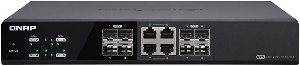 QNAP QSW-804-4C-US 8-Port Unmanaged 10GbE Switch, Eight 10GbE SFP+ Ports with Shared Four 10GBASE-T Ports