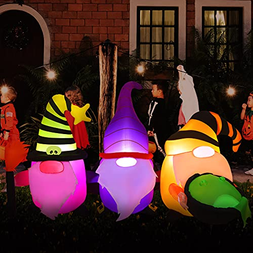 Fovths 7 Feet Halloween Inflatable Decoration Gnome Elf Blow Up Decoration LED Light Up Halloween Decoration for Indoor Outdoor Yard Garden