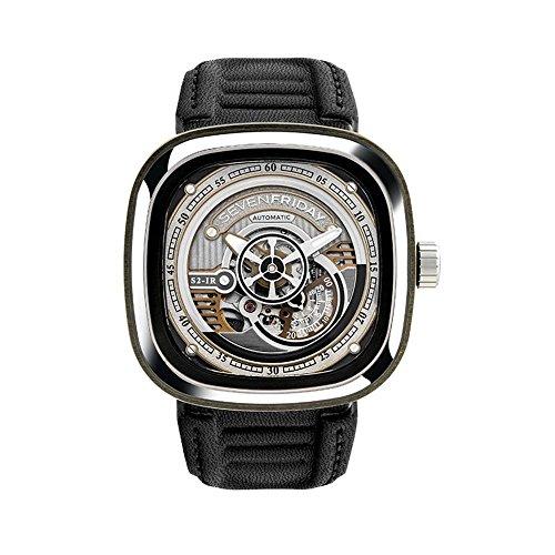 Seven Friday S-Series Herren-Armbanduhr 47mm Armband Leder Automatik S1-02