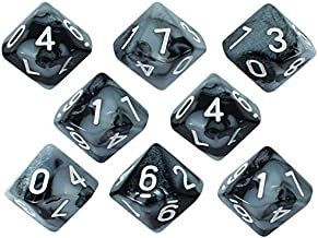 Paladin Roleplaying Gray and Black Dice - 8 D10 Set - 'Claws of Darkness'