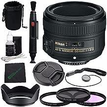 NikonAF-S NIKKOR 50mm f/1.8G Lens + 58mm 3 Piece Filter Set (UV, CPL, FL) + Lens Cap + Lens Hood + Lens Cleaning Pen Bundle