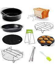 15,2-17,8 cm accessoires voor heteluchtfriteuse, set van 10, accessoires voor heteluchtfriteuse met pizzapan, universele accessoires voor heteluchtfriteuse, geschikt voor alle standaard heteluchtfriteuses.