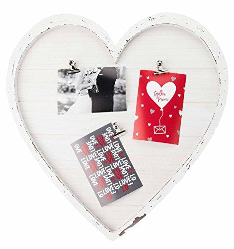 Gallery Solutions Bilderrahmen Collage Herz mit Klammern für 3 Fotos à 10x15 cm, Weiß Antik