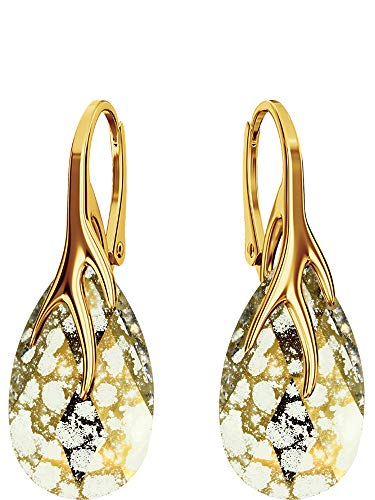 Crystals & Stones Silber 925/Vergoldet 24 K *MANDEL* - *Farben Varianten* Schön Damen Ohrringe Silber 925 - mit Kristallen von Swarovski - Wunderbare Ohrringe mit Geschenkbox BAP39 (Gold Patina)
