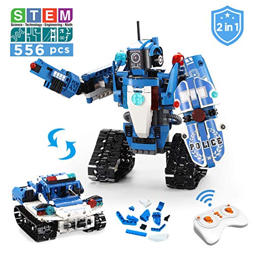 VERTOY Robot Building Kit for Kids 6-12, STEM Remote Control Policeman and Police Car Toys for Boys, Best Birthday Gift for 6 7 8 9 10 11 12-14 Years Old, 556PCS