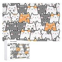 ジグソーパズル 木製パズル 1000ピース Puzzle かわいい 猫颜 柄 おもちゃ 壁飾り 知育玩具 おもちゃ 壁掛け ギフト スジグソーパズル 減圧 誕生日 プレゼント インテリア 学生 子供 大人 75×50cm 収納ボックス付き