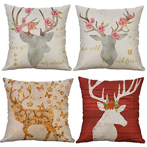 Funda de almohada decorativa de lino con diseño de ciervos de flores de animales de colores y fundas de almohada de 45,7 x 18 cm