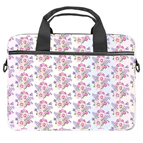 Briefcases Waterproof Computer Tablet Shoulder Bag Carrying Case Handbag for Men and Women Seamless Pink Floral Pattern Purple Romantic