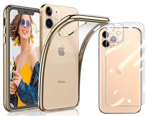 Funda compatiable con iPhone 12 6,1' con Cristal Templado Protector de Pantalla Protector de Lente de Cámara , EnchapadoUltra Fina Silicona Transparente TPU Carcasa Protector Airbag Anti-Choque Caso
