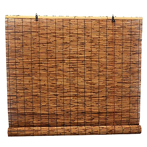 YAHAO Bamboo Blinds Outdoor Patio,80% Shading Breathable Reed Roll Up Shades UV Protection Natural Roller Reed Shade for Outdoor Patio Door,W81xH203cm 32x80in