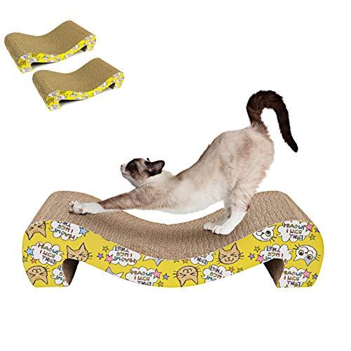 MAFANG Kratzbrett Fur Katzen, Kratzpappe Kratzmatte Kratzmöbel Kratzkissen Spielzeug Fur Katzen Kleine Mittlere Katze, 2 Stück Kratzpads Kratzkarton Beide Seiten Verfügbar, Für Alle Katzen