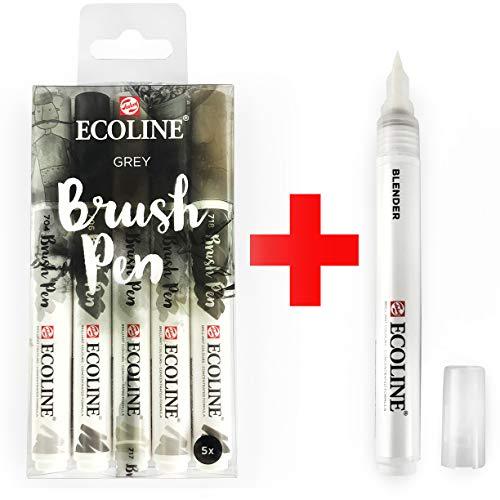 Royal Talens Ecoline - Juego de 5 pinceles para pintar acuarela líquida y rotulador mezclador
