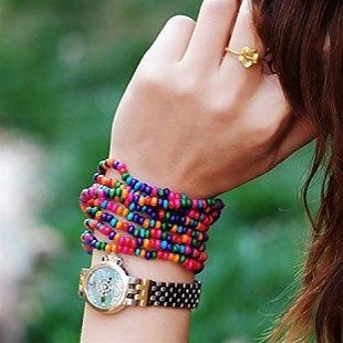 Shability Quality Handmade Two-use Bohemian Style Multilayer Candy Colored Natural Wooden Long Bracelet Beads Fashion Distinctive Jewelry yangain