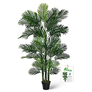 Silk Flower Arrangements Aveyas 6ft Artificial Golden Cane Palm Silk Tree in Plastic Nursery Pot, Fake Tropical Plant for Office House Living Room Home Decor ( Indoor / Outdoor )