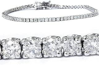 3ct Round GENUINE Diamond Tennis Bracelet 14K White Gold Womens 7