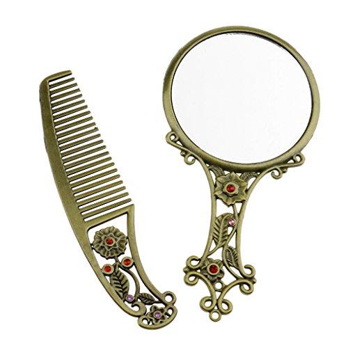 SM SunniMix Peigne Cosmétique De Miroir Cosmétique De Maquillage De Strass Floral De Poche Rétro Rond/Ovale - Bronze rond