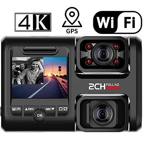 Dvuboo Dash CAM 4K WiFi GPS, Dual Lente Delantera y Interior Cámara de Coche con Visión Nocturna, 170 ° Gran Angular,Monitoreo de Estacionamiento,Detección de Movimiento y ADAS para Uber Truck Taxi