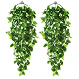 CEWOR 2pcs Artificial Hanging Plants 3.6ft Fake Ivy Vine Fake Ivy Leaves for Wall Home Room Garden Wedding Garland Outside Decoration (No Baskets)