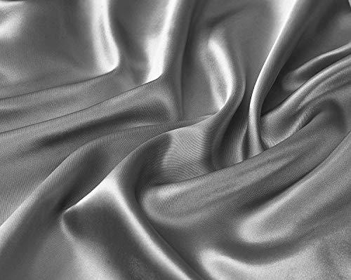 Linen Plus Satin Sheet Set Soft Silk Cozy Solid New (Silver/Light Grey, Queen)