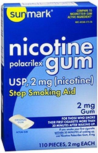 Sunmark Nicotine Polacrilex Original flavor Gum 2 MG 110 pieces Stop Smoking Aid