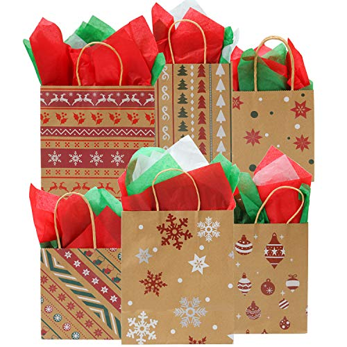 Elcoho 24 Pieces 3 Size Christmas Kraft Bags Paper Bags Holiday Party Bag with 30 Sheets Christmas Tissue Paper for Christmas Decorations,6 Designs
