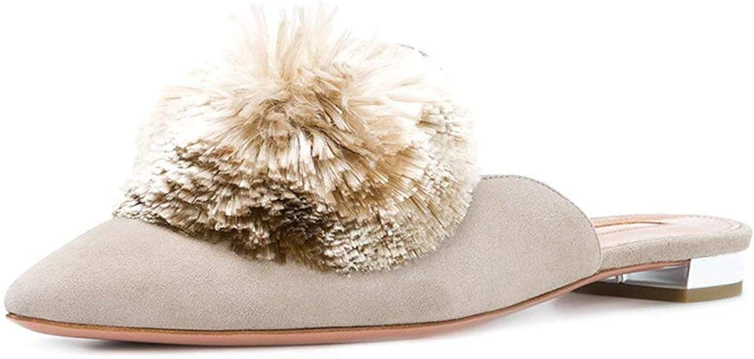 MAVIRS Suede Mules for Women, Women Pom Embellished Slipper shoes, Pointed Toe Backless Slip on Loafers Apricot Size 14