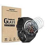 AKWOX 4 Stück Schutzfolie für Huawei Watch 2 Panzerglasfolie 9H Festigkeitgrad 0.3mm Kratzfest HD Glasfolie für Huawei Watch 2