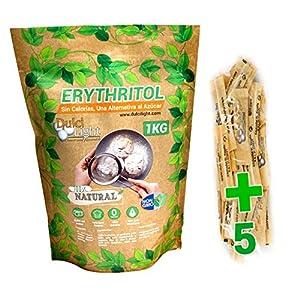 DULCILIGHT Eritritol Edulcorante 100% Natural 1 Kg con Cero Calorias + (5 sobres de obsequio Nuevo Edulcorante Moreno) Sustituto del Azucar Dietas Keto y Cetogenicas