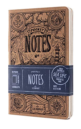 LEABAGS Pocket Notes Deco Edition - Taccuino, 68 pagine, 9 x 14 cm