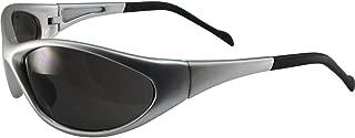 Global Vision Reflex Padded Motorcycle Safety Sunglasses Silver Frame Smoke Lens ANSI Z87.1