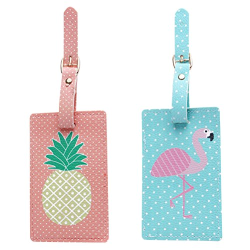 Tinksky 2 Pack Travel Luggage Bag Tag, Pineapple Flamingo ID Tags for Luggage Suitcase, Luau Hawaii Favours