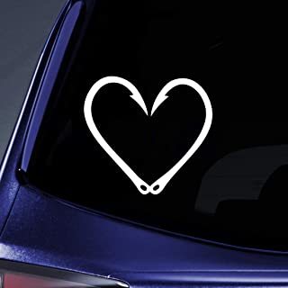 Bargain Max Decals - Fishing Hook Heart Love - Sticker Decal Notebook Car Laptop 6