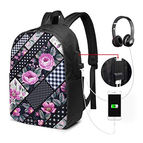 School College Backpack with USB Port Brunch Check Floral Patchwork, Business Laptop Backpack Water Resistant Bag Daypack Fits 15.6 Inch Computer Notebook Rucksack