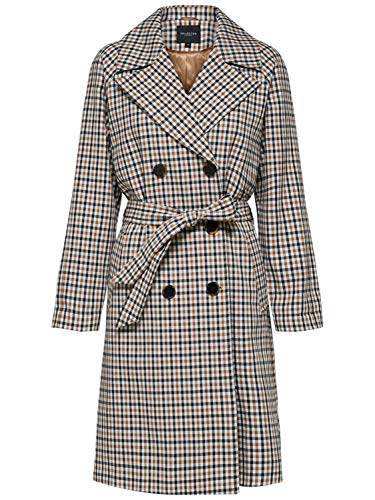 SELECTED FEMME SLFANKA Check Trenchcoat B, weiß(snowwhiteaop), Gr. 42