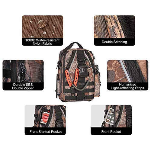 Piscifun Travel X Fishing Tackle Bag, Water-Resistant Fishing Storage Bag for Men and Women, Multifunctional Outdoor Tackle Storage Backpack for Fishing, Camping, Hiking and Traveling Camouflage Large