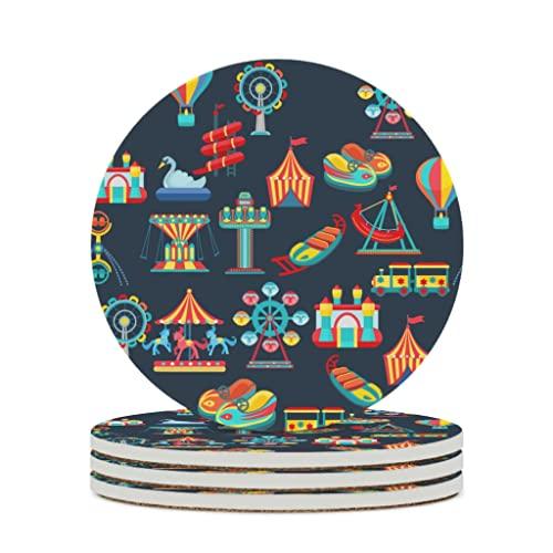 Facbalaign Posavasos de cerámica con base de corcho resistente a los arañazos, diseño prémium, resistente al agua, 4 unidades, color blanco