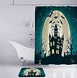 HAHAHAG Duschvorhang Vollmond Fledermaus Schloss Bad Gardinen Polyester Wasserdicht Anti Schimmel Badezimmer Deko Heimzubehör mit Vorhanghaken 180 x 180 cm