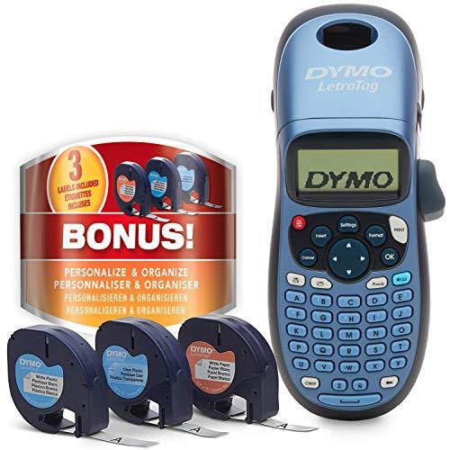 Dymo LetraTag LT-100H Beschriftungsgerät Handgerät | Tragbares Etikettendrucker mit ABC Tastatur | mit Papieretiketten, weißen & transparenten Kunststoffetiketten | Ideal fürs Büro & zu Hause
