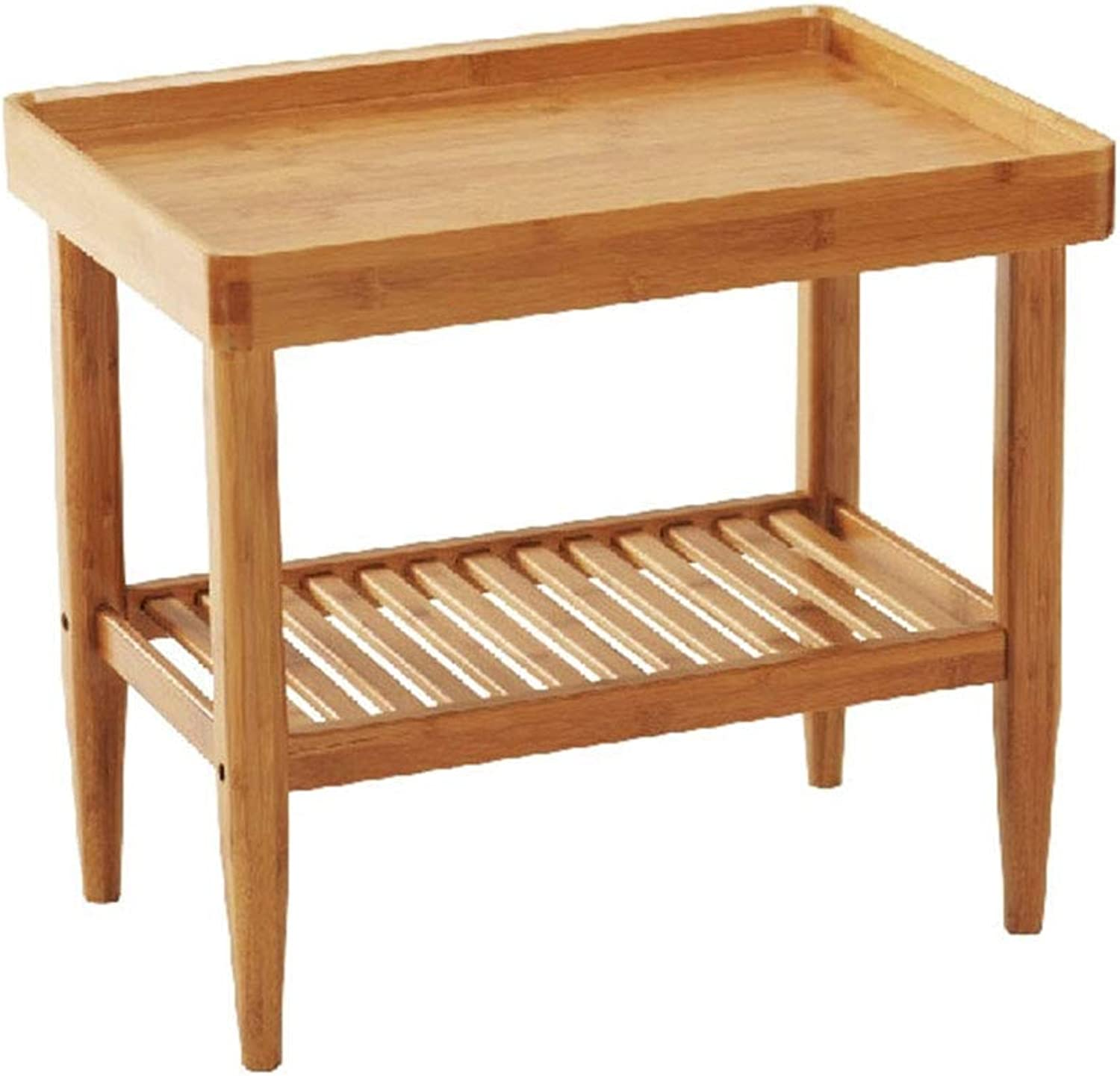 Coffee Table Side Table, Bamboo Legs Open Storage Multipurpose Double Shelf Household Living Room Small Tea Table