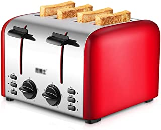 YONGMEI Toaster 4 commercial toaster home automatic toaster driver breakfast machine stainless steel heating bread machine 3617.517.6cm (color : Red)
